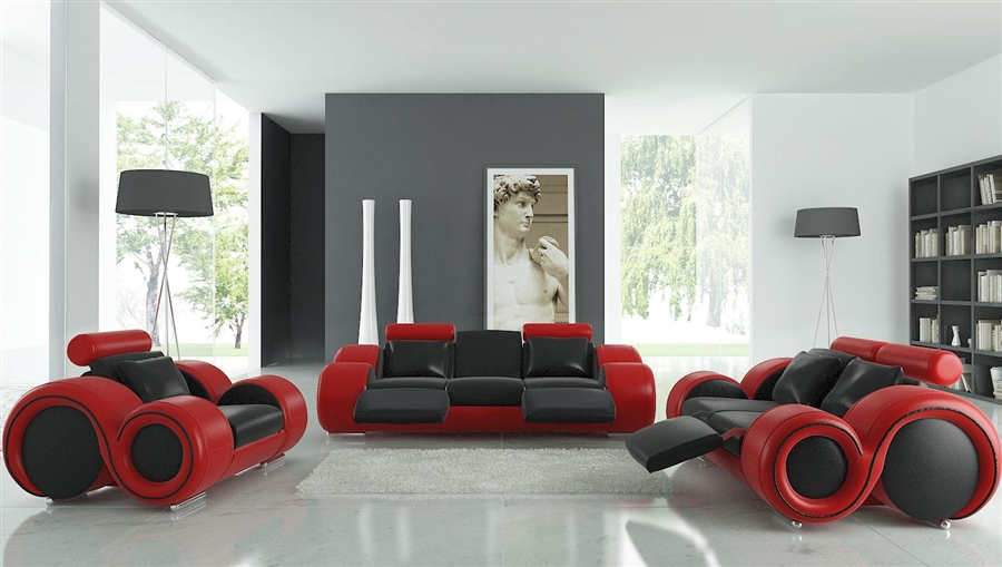 Modern Black and Red Leather Sofa Set