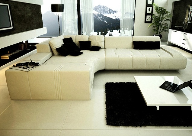 Franco Collection Modern Sectional Sofa - White - Chaise on Left Facing