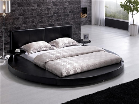 Modern Black Leather Headboard Round Bed - Queen TOS-T009-BLK-Q
