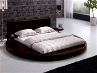 Modern Brown Leather Headboard Round Bed - Queen TOS-T009-BR-Q