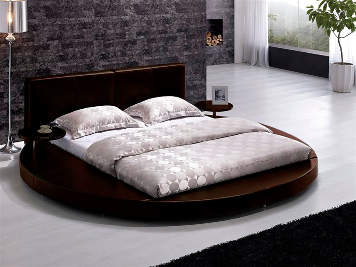 modern brown leather headboard round bed queen tos t009 br q - Leather Queen Bed Frame