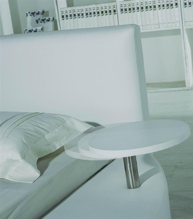 Modern White Leather Headboard Round Bed King TOSTWHK - Black leather round bed