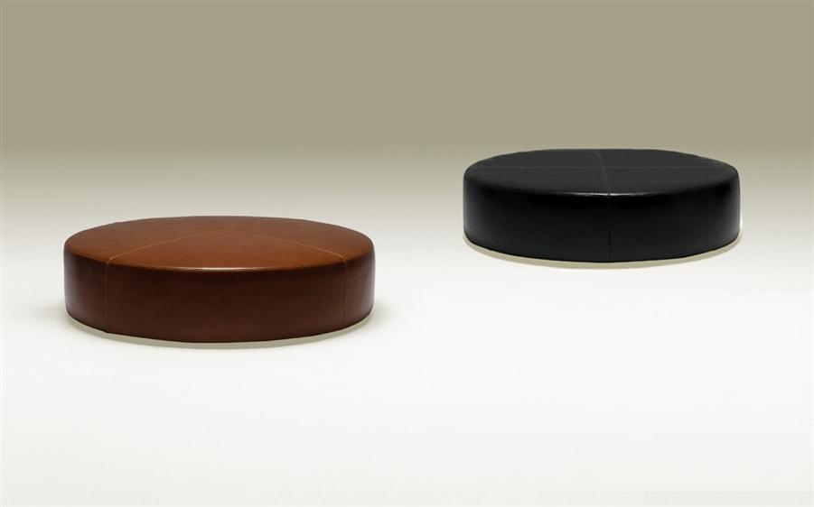 Contemporary Round Leather Ottoman Chocolate Brown Tos Tik 100202