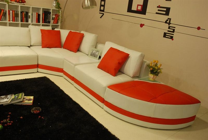 Miami Contemporary Leather Sectional Sofa Set - White / Red