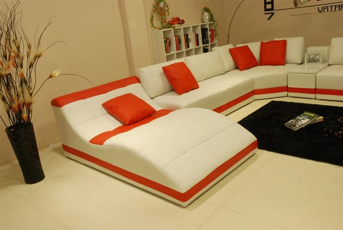 Superb Miami Contemporary Leather Sectional Sofa Set White Red Cjindustries Chair Design For Home Cjindustriesco