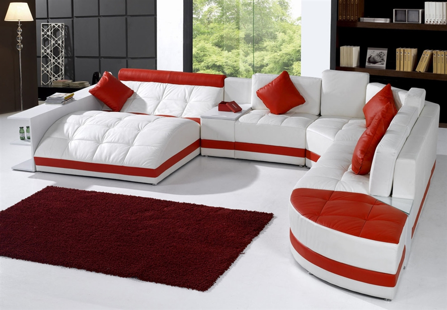 Miami Contemporary Leather Sectional Sofa Set - White / Red on Special