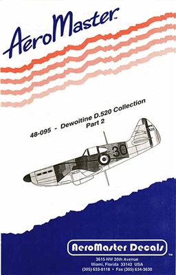AeroMaster #48-095 1/48 Dewoitine D.520 Collection Part 2 Decal Sheet