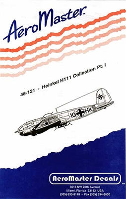 AeroMaster #48-121  1/48 Heinkel He 111 Collection Part 1 Decal Sheet
