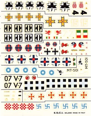 Esci #65 1/72 WWII Axis (Volunteers) Decal Sheet