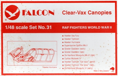 Falcon Canopy #31 1:72 WWII RAF Fighters