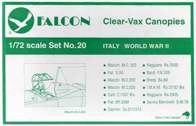 Falcon 1/72 Canopy Set #20 Italy WWII - Part 1