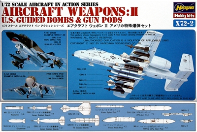 Hasegawa #X722 1/72 U.S. Aircraft Weapons: Guided Bombs & Gun Pods