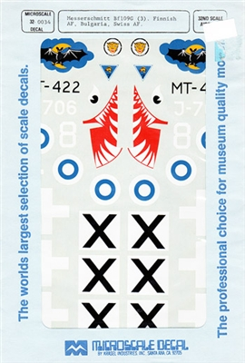 Microscale #32-34 1/32 Messerschmitt Bf 109G Finland, Bulgaria & Switzerland Decal Sheet