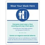 Wear Your Mask Here Posting Notice - Bilingual