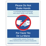 Please Do Not Shake Hands Posting Notice - Bilingual