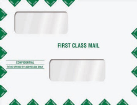 Double window tax return mailing envelope first class for 10x13 window envelope