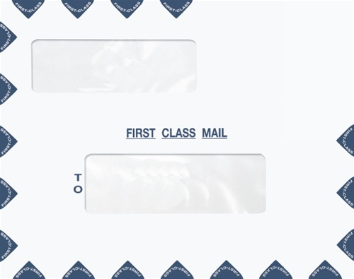 Landscape Double Window Envelope   First Class Mail Tax