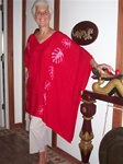 Rayon poncho with big leaves