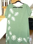 Sage green play dress with big leaves