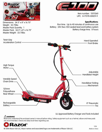 Razor Electric Scooters E100 For Cheap