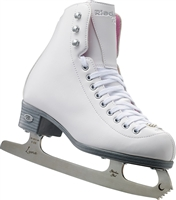 Riedell 114 Pearl White Ice Skates with Luna Blades