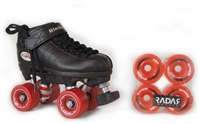 Riedell R3 Indoor/Outdoor Roller Skate Package - Black