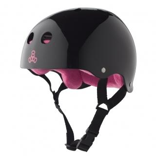 Triple 8 Brainsaver SS Helmet - Black Gloss w/Pink Liner