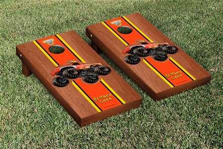 Monster Jam El Toro Loco Red Cornhole Game Set Rosewood Stained Version