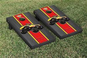 Monster Jam El Toro Loco Yellow Cornhole Game Set Onyx Stained Stripe Version