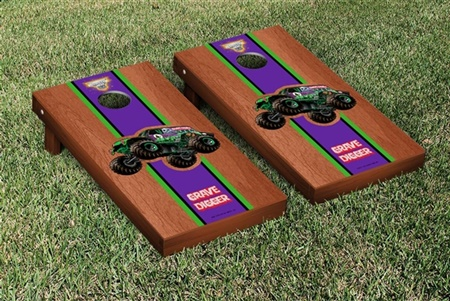 Monster Jam Grave Digger Cornhole Game Set Rosewood Stained Version