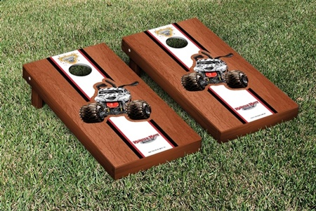 Monster Jam Monster Mutt Dalmatian Cornhole Game Set Rosewood Stained Stripe Version
