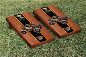 Monster Jam Monster Mutt Rottweiler Cornhole Game Set Rosewood Stained Stripe Version
