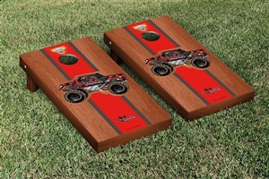 Monster Jam Northern Nightmare Cornhole Game Set Rosewood Stained Stripe Version