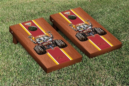 Monster Jam Zombie Cornhole Game Set Rosewood Stained Stripe Version