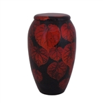 Black/Autumn Leaves-Hand Painted Urn