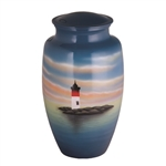Lighthouse Scene Hand Painted Urn