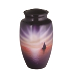 Sailboat Scene Hand Painted Urn
