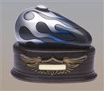 "Grey with Silver Flame ""Born to Ride"" Urn"
