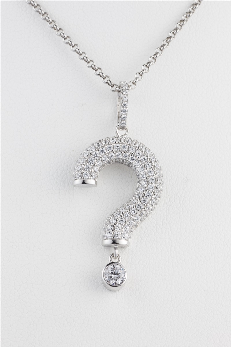 Alluring question mark necklace 18 inch chain 925 sterling silver 18 inch chain silver alluring question mark necklace aloadofball Image collections