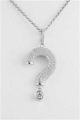 18 inch chain Silver Alluring question mark necklace