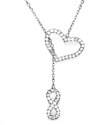 16 inch charming heart and infinity lariat necklace