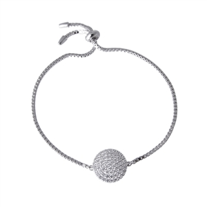 Adjustable pave disc bracelet
