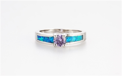 .925 sterling silver and purple cubic zirconia center stone blue opal ring