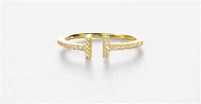 Gold Over Silver Double Bar Ring. 925 Sterling CZ.