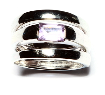 .925 Sterling Silver Stackable Amethyst Ring Set
