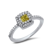 Small Canary Yellow Square Ring