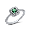 Halo Green Square Ring
