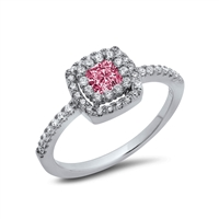 Halo Pink Square Ring