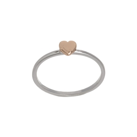 Adorable Rose Gold and .925 Silver Heart Ring