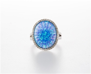 Lab Created Blue Opal Ring